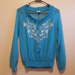 Charming Charlie Tops - Charming Charlie sheer embroidered long sleeve